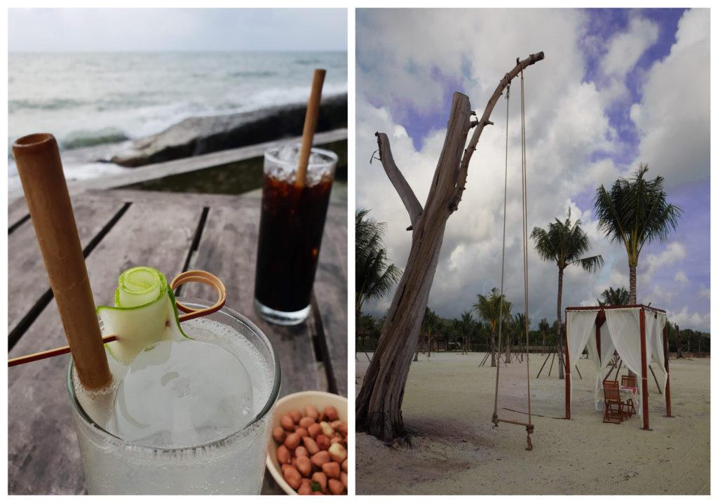 Drinkit ja keinu merenrannalla